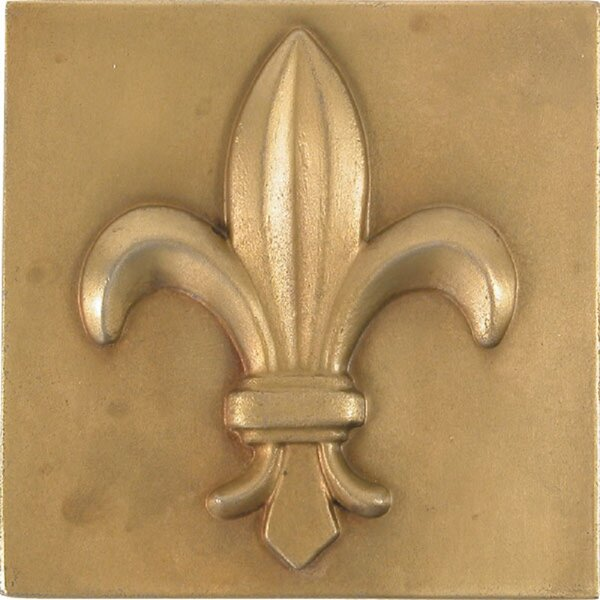 Fleur-De-Lis 4 x 4 Metal Decorative Accent Tile in Antique Brass (Set of 4) by The Copper Factory