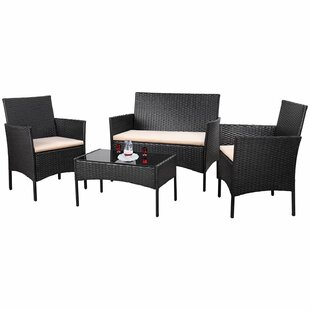Donn Conversation 4 Piece Rattan Sofa Seating Group with Cushions