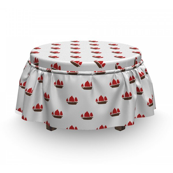 Chinese Sailing Junk Ottoman Slipcover (Set Of 2) By East Urban Home