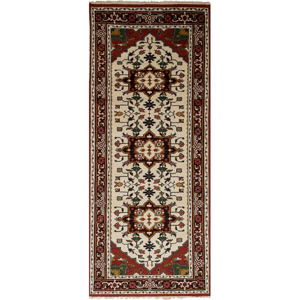 One-of-a-Kind Grullon Hand-Knotted Wool Cream/Red Area Rug by Isabelline