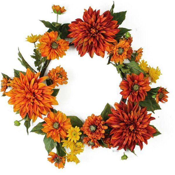 Autumn Harvest 22 Mums and Daisies Floral Wreath by August Grove
