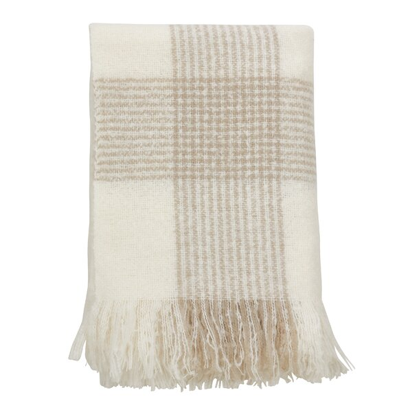 Shaylene Faux Mohair Plaid Pattern Tassel Acrylic Throw by Red Barrel Studio