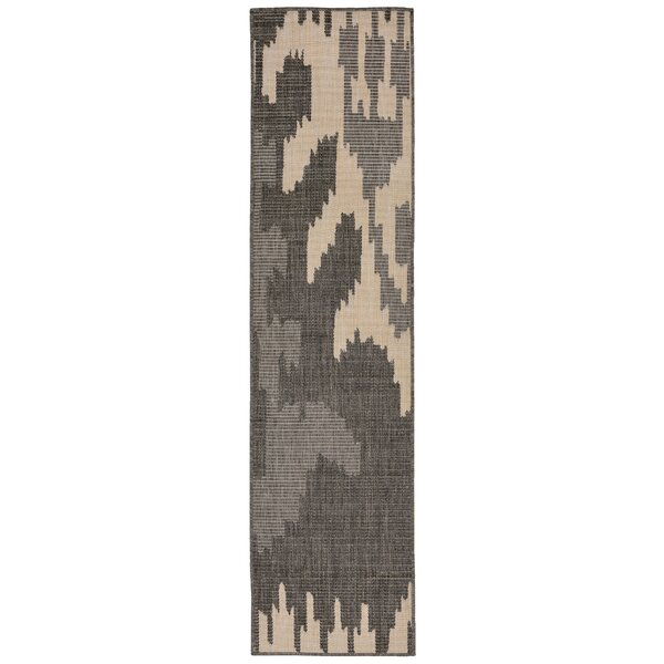 Finklea Ikat Gray/Ivory Indoor/Outdoor Area Rug by Wrought Studio