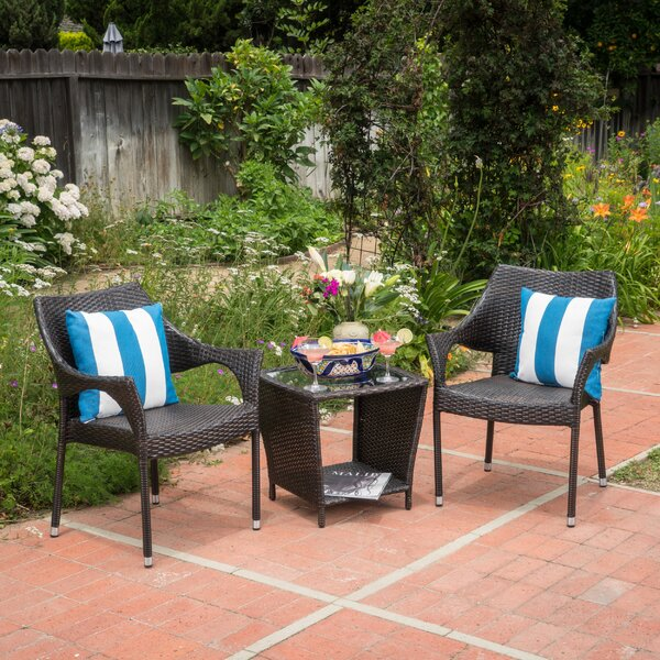 Brizendine 3 Piece Rattan Setting Group by Wrought Studio