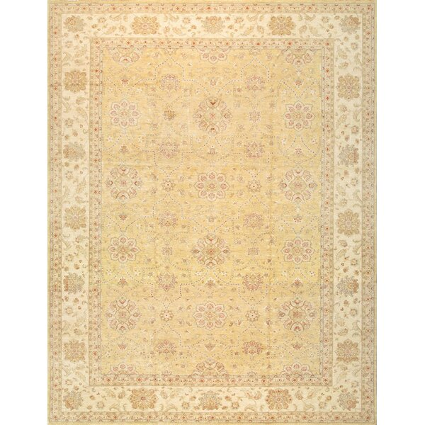 One-of-a-Kind Sultanabad Hand-Knotted Gold 13' x 17' Wool Area Rug