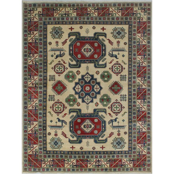 Browner Kazak Hand Knotted Wool Ivory Area Rug by Bloomsbury Market