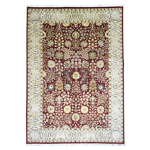 One-of-a-Kind Slagen Oriental Geometric Hand Woven Wool Red Area Rug by Isabelline