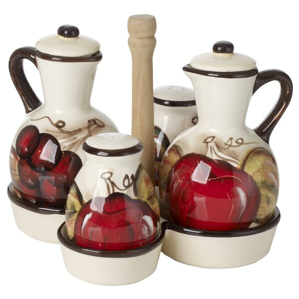 Ceramic Oil and Vinegar Bottle Condiment Set with Caddy by Fleur De Lis Living