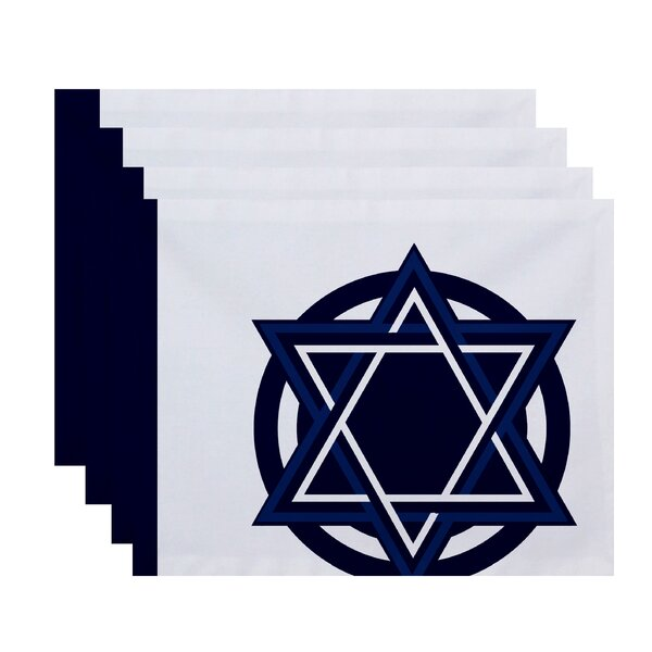 Hanukkah Star Bright Geometric Print Placemat (Set of 4) by The Holiday Aisle
