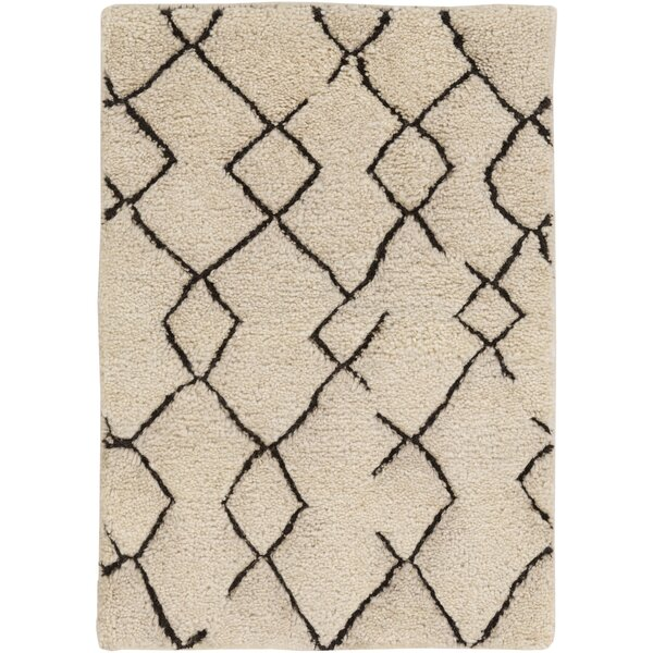 Kinzie Hand-Knotted White/Black Area Rug by Bungalow Rose