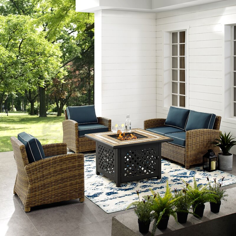 Birch Lane™ Heritage Lawson 4 Piece Outdoor Wicker Seating ...