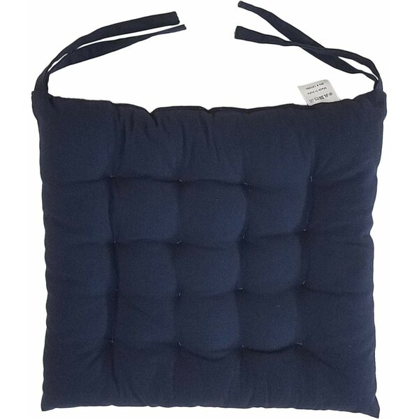 Melange 100 Cotton Square 16 x 16 Chair Cushions, Set of 4, Navy Blue (Set of 4)