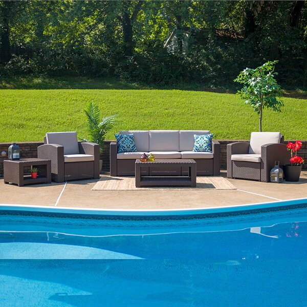 Thunderbolt 5 Piece Rattan Sofa Seating Group with Cushions by Latitude Run