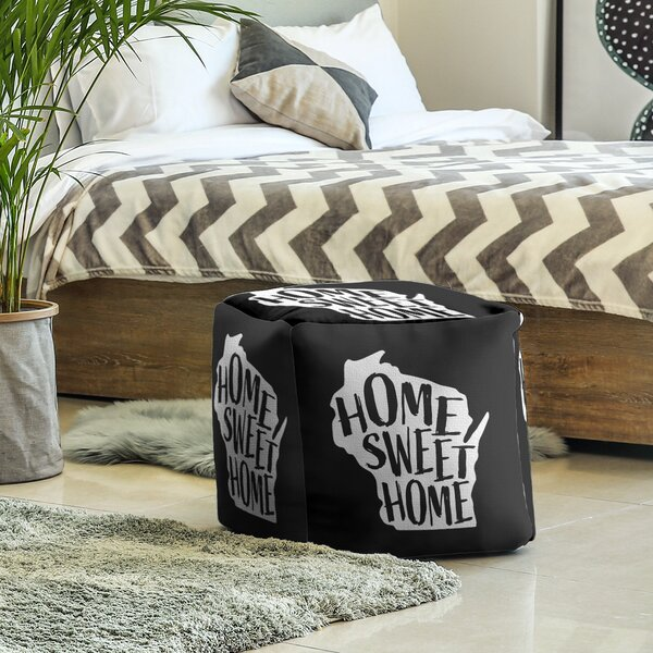 Home Sweet Wisconsin Cube Ottoman By East Urban Home