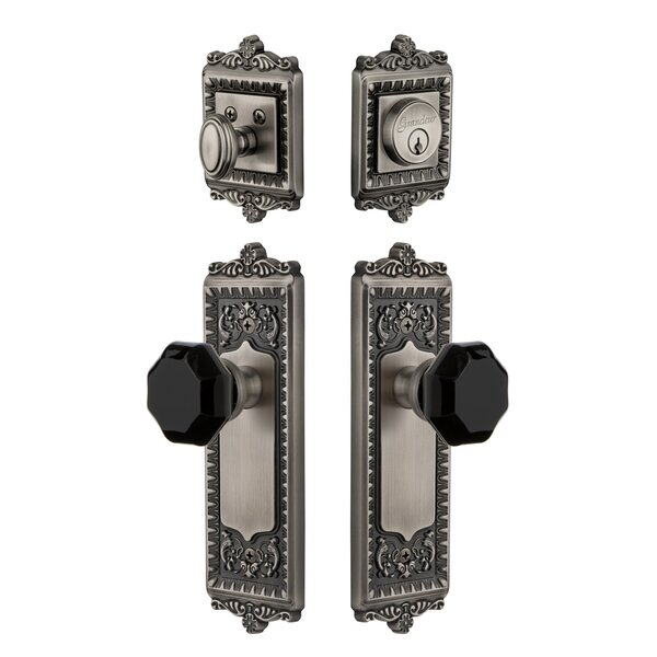 Windsor Plate Single Cylinder Knob Combo Pack with Lyon Knob and matching Deadbolt by Grandeur