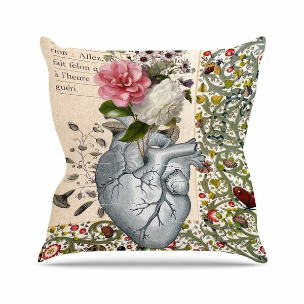 Suzanne Carter Her Heart is a Garden Outdoor Throw Pillow by East Urban Home