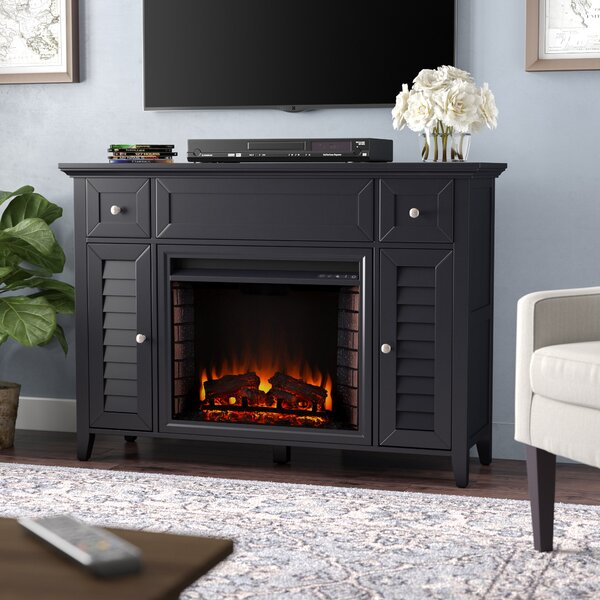 CherryWood TV Stand with Electric Fireplace by Alcott Hill