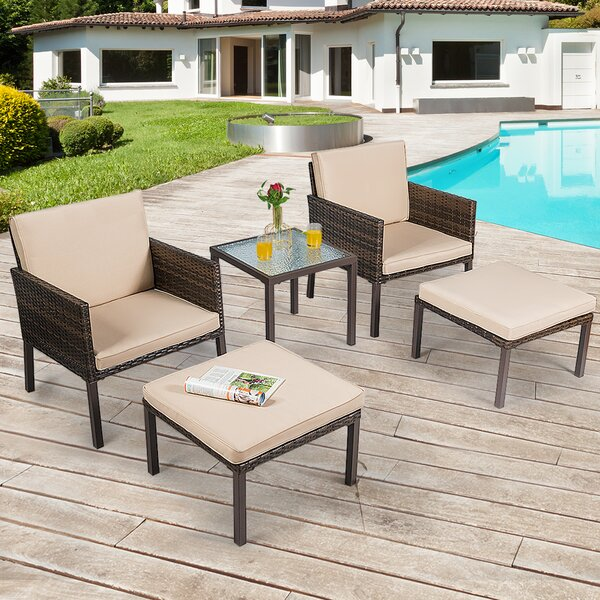 Jerrell Garden Lawn 3 Piece Rattan Multiple Chairs Seating Group by Bay Isle Home