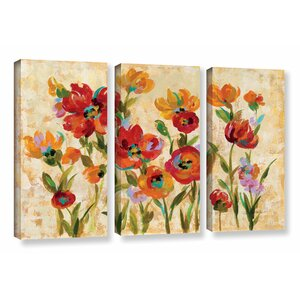 'July in the Garden I' 3 Piece Wood Framed Painting Print on Canvas Set by Andover Mills