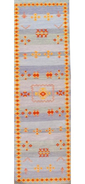 Moroccan Style Reversible Flat Weave Hand Knotted Wool Light Blue Area Rug by Pasargad NY