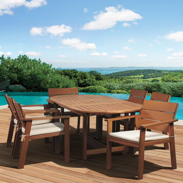 Trotta International Home Outdoor 7 Piece Dining Set with Cushions by Highland Dunes