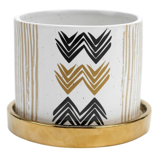 Pinon Chevron 2 Piece Stoneware Pot Planter Set by Floor 9