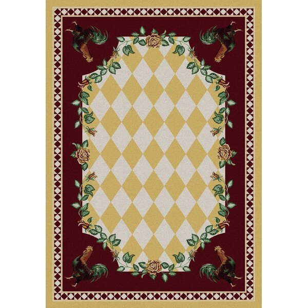 Novelty High Country Rooster Yellow Area Rug by American Dakota