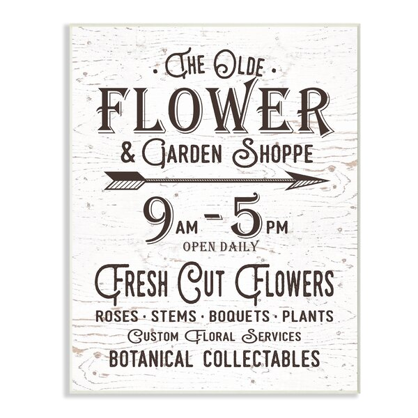 The Old Flower and Garden Shop Sign Textual Art by Stupell Industries