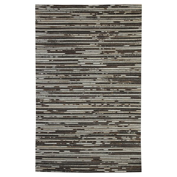 Auckland Hand-Woven Dark Brown Area Rug by Loon Peak