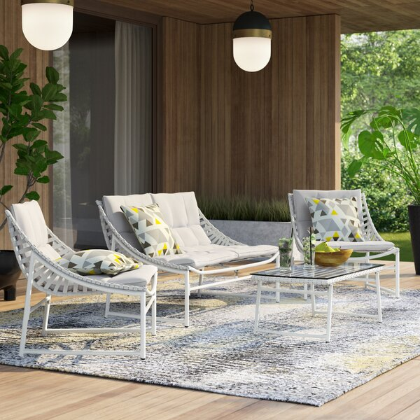 Johan 4 Piece Rattan Sofa Seating Group with Cushions by Langley Street™