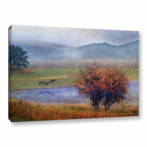 Horses and Lone Oak Painting Print on Wrapped Canvas by Red Barrel Studio