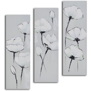 White on White Poppies' 3 Piece Painting on Wrapped Canvas Set by My Art Outlet