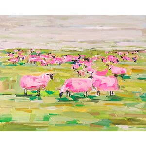 'Pink Sheep' Print on Wrapped Canvas by Harriet Bee