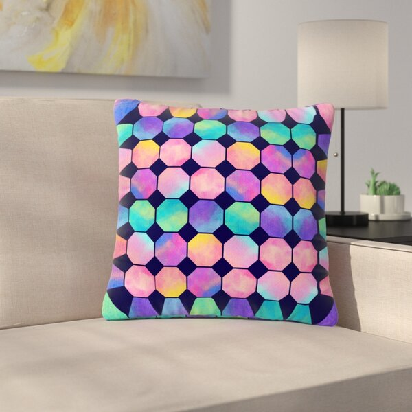 Noonday Design Colorful Watercolor Octagons Abstract Outdoor Throw Pillow by East Urban Home