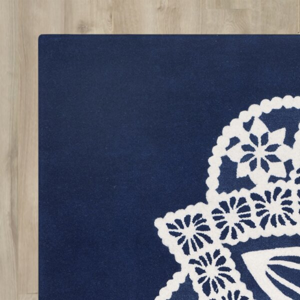 Archer Hand-Tufted Navy / Ivory Area Rug by Bungalow Rose