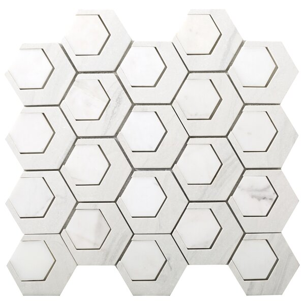Catalyst 3 x 3 Stone Mosaic Tile in Hydrogen by Emser Tile