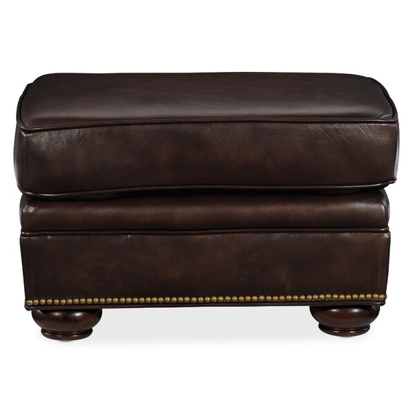 Monteith Leather Ottoman By Canora Grey