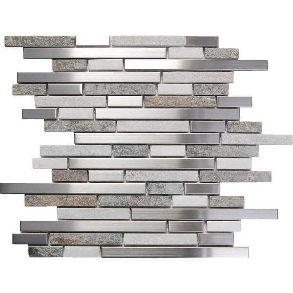 Random Sized Mixed Material Mosaic Tile in Silver/Gray by Luxsurface