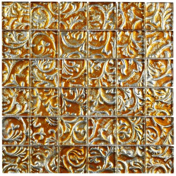 Florencia 1.88 x 1.88 Glass Mosaic Tile in Burnt Orange/Gold Ivy by EliteTile