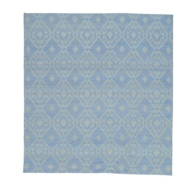 Flat Weave Reversible Durie Kilim Squarish Hand-Knotted Sky Blue Area Rug by Bungalow Rose