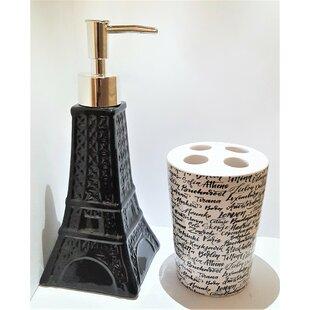 Bridesdale Novelty Eiffel Tower Ceramic 2 Piece Bathroom Accessory Set (Set of 2) ByHouse of Hampton