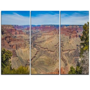 Grand Canyon National Park - 3 Piece Graphic Art on Wrapped Canvas Set by Design Art