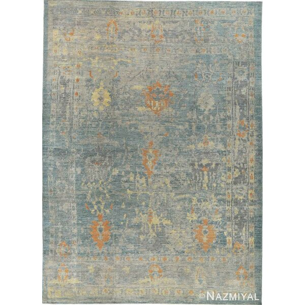 One-of-a-Kind Hand-Knotted New Age Oushak Blue 10' x 14' Wool Area Rug