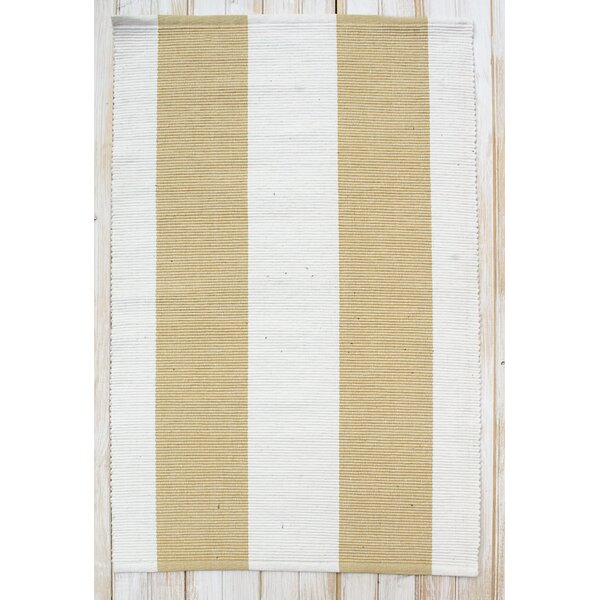 Montauk Yellow/White Stripe Rug by CLM