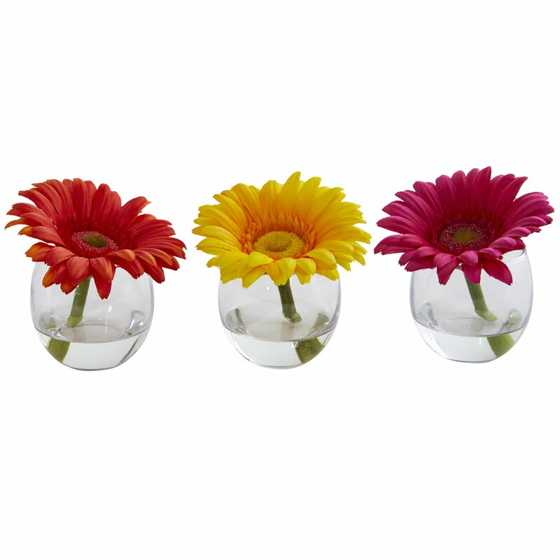 Ebern Designs Gerbera Daisy Floral Arrangement In Decorative Vase