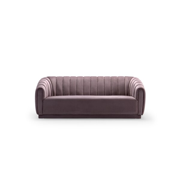 Darley Velvet Upholstered Vertical Channel-Quilted Shelter Sofa by Everly Quinn