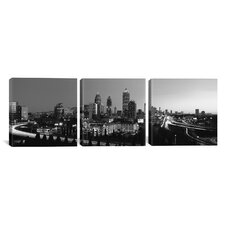 Panoramic Atlanta Skyline Cityscape 3 Piece Photographic Print on Wrapped Canvas Set in Black and White