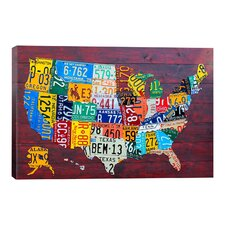 """Decorative """"License Plate Map USA"""" by David Bowman Graphic Art on Canvas"""