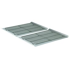 """4 Piece 19"""" Non-Stick Cookie Sheet and Cooling Rack Set"""