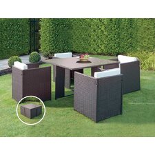 Patio Wicker Outdoor 5 Piece Dining Set by JB Patio